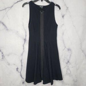 Topshop front zip up dress small black